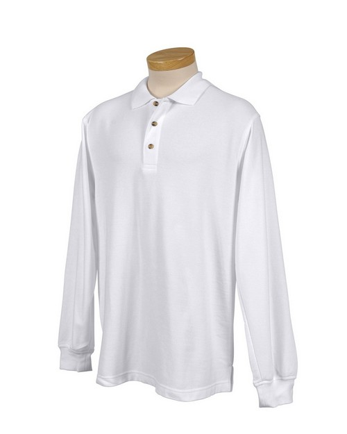 Tri-Mountain 608 Men's 60/40 pique long sleeve golf shirt