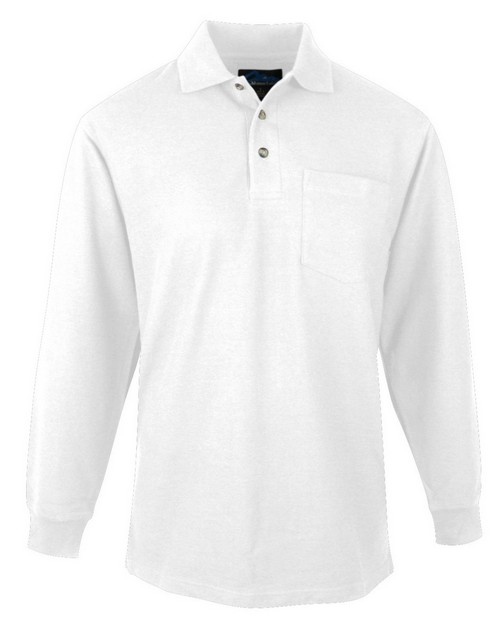 Tri-Mountain 609 Men's 60/40 pique long sleeve pocketed golf shirt