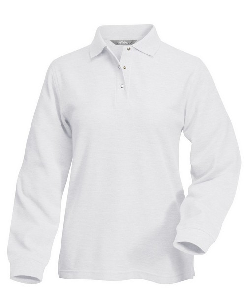 Tri-Mountain 612 Women's 60/40 long sleeve easy care knit shirt with snap closure. Ideal cook shirt