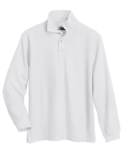 Tri-Mountain 615 Men's 60/40 long sleeve easy care knit shirt with snap closure. Ideal cook shirt
