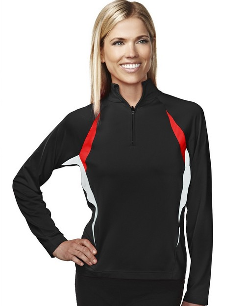 Tri-Mountain 651 Women's 88% Polyester 12% Spandex Knit Quarter Zipper Pullover
