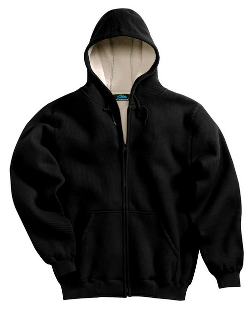 Tri-Mountain 697 Men 60/40 thermal full zip hooded sweatshirt with sherpa fleece lining