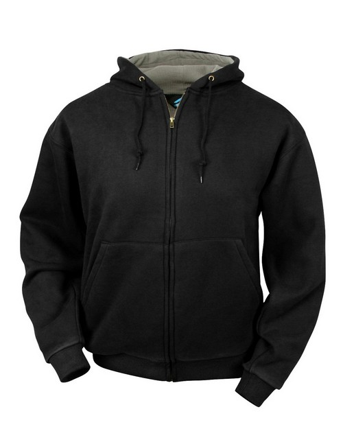 Tri-Mountain 699 Cotton/poly sueded finish hooded full zip sweatshirt with thermal lining