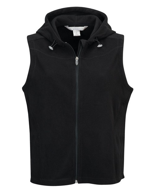 Tri-Mountain 7023 Women's 100% polyester fleece fully placket sleeveless hooded jacket