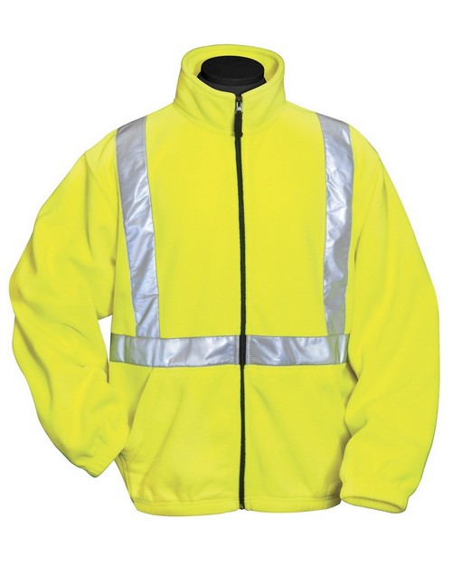Tri-Mountain 7130 100% polyester anti-pilling safety fleece jacket. ANSI Class 2/Level 2
