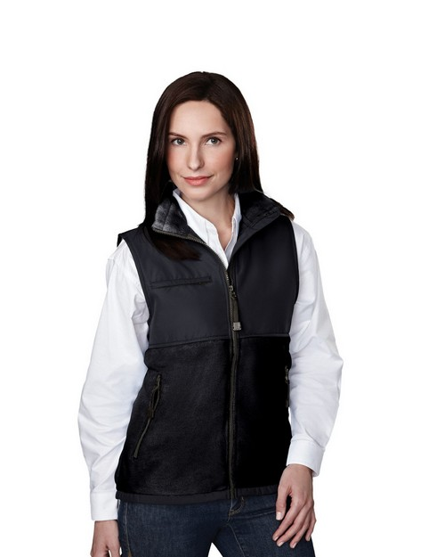 Tri-Mountain 7410 Women's panda fleece vest with nylon paneling