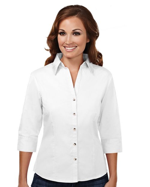 Tri-Mountain 763 Women's 60/40 stain resistant open neck 3/4 sleeve shirt