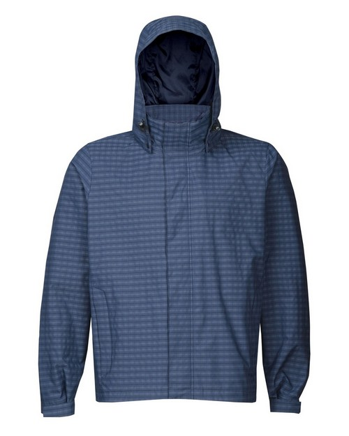 Tri-Mountain 8025 Men's 75% Nylon 25% Polyester Mini Plaid Rain Resistant Jacket