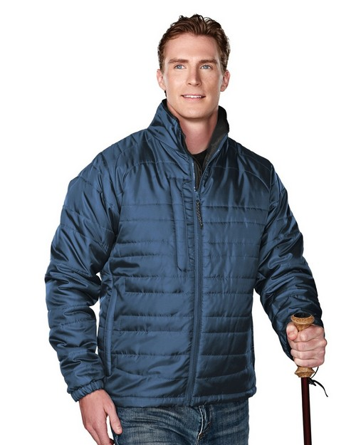 Tri-Mountain 8255 Brookl Men Polyester Rib Stop Long Sleeve Quilt Jacket with Water Resistent