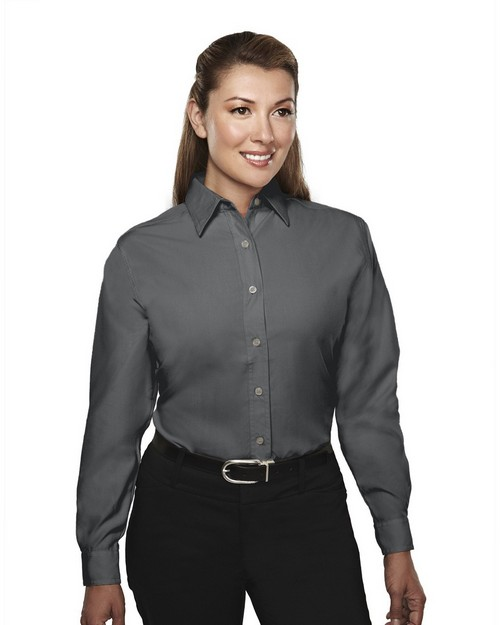Tri-Mountain 852 Metro Women Long Sleeve Shirt With Mini Hounds Tooth Pattern