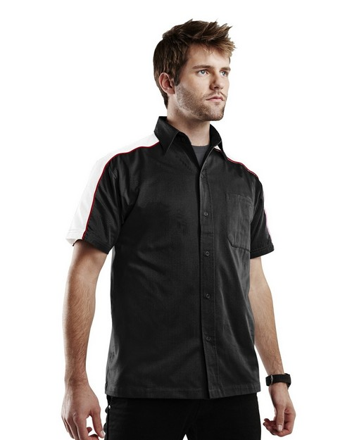 Tri-Mountain Racewear 910 Burnout Short Sleeves Twill Shirt