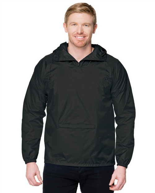 Tri-Mountain J1005 Men's 100% Nylon Packable Zipped Pullover Hooded Anorak Jacket