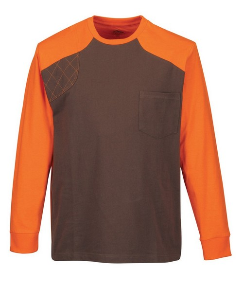 Tri-Mountain K086LS Men's Long Sleeve Shooter Tee W/Contrast Quilted Patch