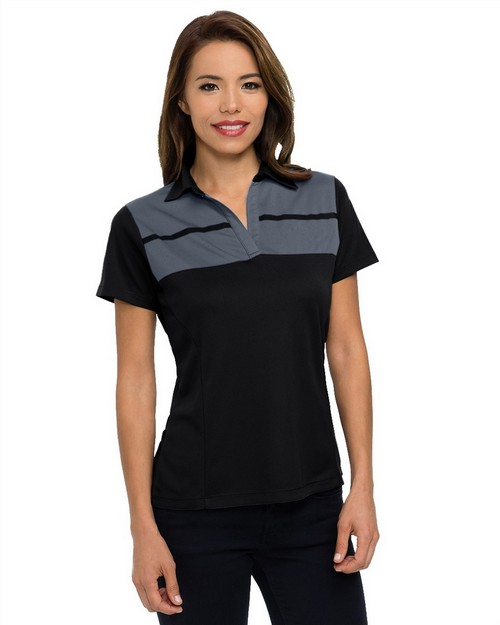 Tri-Mountain KL025 Women's 5 oz. 100% polyester mini-pique polo featuring UltraCool moisture-wicking technology.