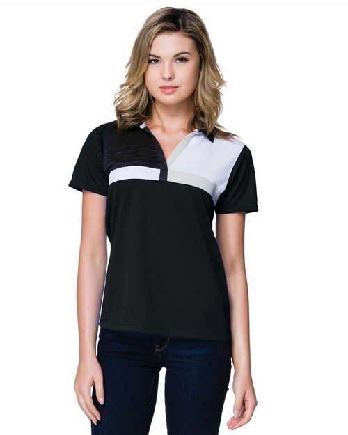 Tri-Mountain Gold KL109 Women's 5.8 Oz. 100% Polyester Color Block Polo