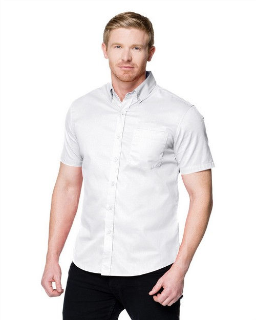 Tri-Mountain W700SS Men's 3.8 Oz. 60% Cotton/40% Polyester Brushed Twill Short Sleeve Woven Shirt