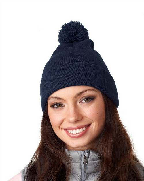 Ultraclub 8136 Knit Pom-Pom Beanie with Cuff