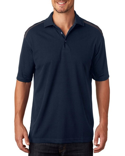 Ultraclub 8215 Adult Cool & Dry 2-Tone Mesh Pique Polo Shirt