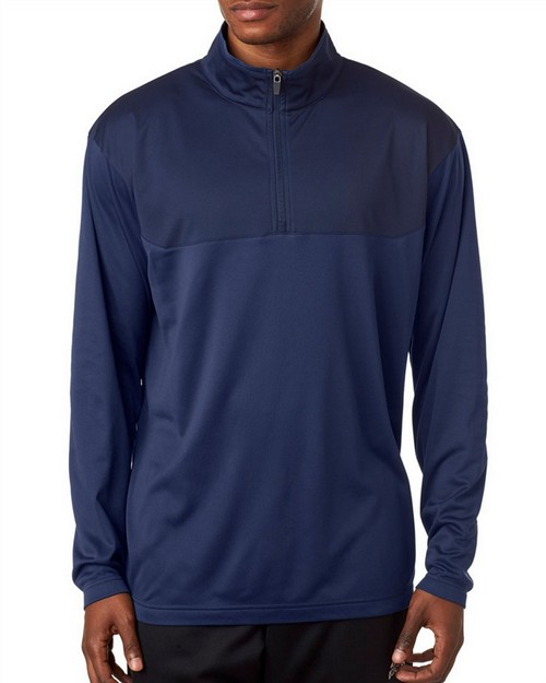 Ultraclub 8233 Adult Cool & Dry Sport Color Block 1/4-Zip Pullover
