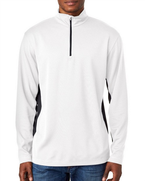 Ultraclub 8237 Adult 2-Tone Keyhole Mesh 1/4-Zip Pullover