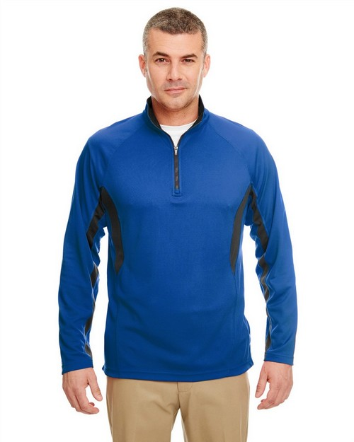 Ultraclub 8434 Adult Cool & Dry Color Block Dimple Mesh 1/4-Zip Pullover