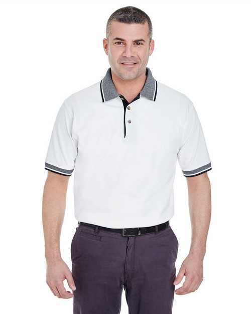 Ultraclub 8536 White-Body Classic Pique Polo with Contrasting Multi-Stripe Trim