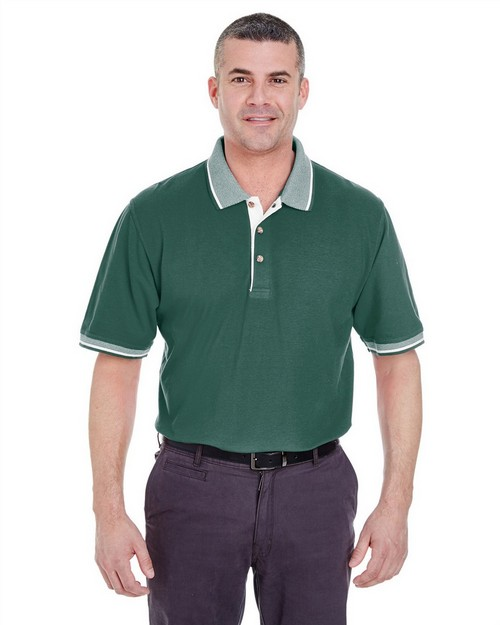 Ultraclub 8537 Color-Body Classic Pique Cotton Polo with Contrasting Multi-Stripe Trim