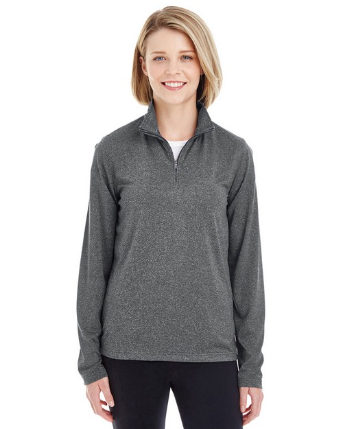 Ultraclub 8618W Ladies Cool & Dry Heathered Performance Quarter-Zip