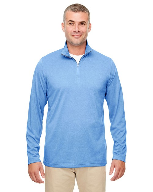 Ultraclub 8618 Mens Cool & Dry Heathered Performance Quarter-Zip
