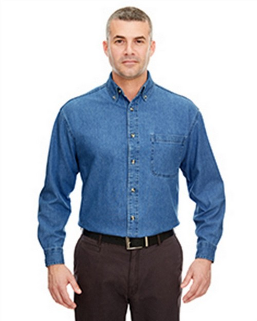 Ultraclub 8960T Men's Long-Sleeve Tall Denim Shirt