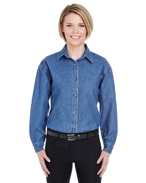 Ultraclub 8966 Ladies Long-Sleeve Denim Shirt