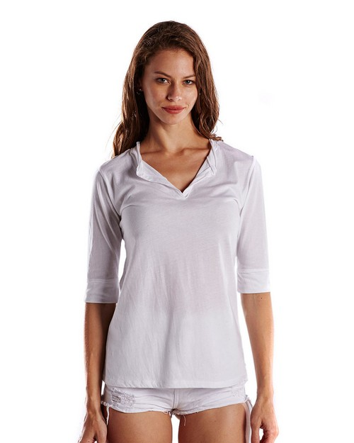 US Blanks US205 Ladies 3.5 oz. Elbow Sleeve Footie Tee