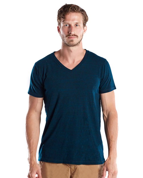 US Blanks US2228O Mens 5.2 oz. Short-Sleeve Triblend Layer-Dyed V-Neck