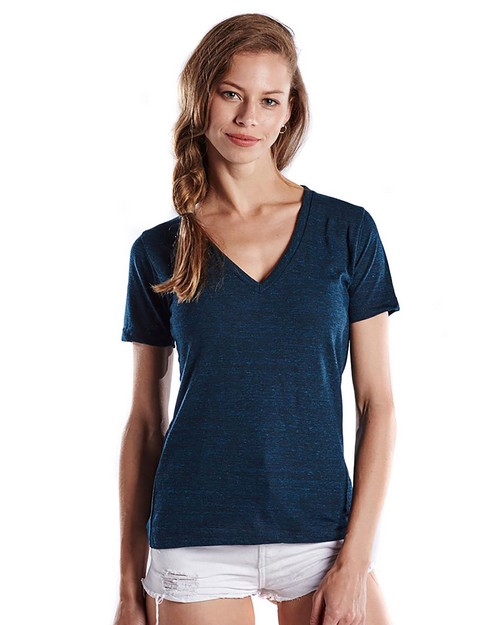 US Blanks US228OD Ladies 5.2 oz. Short-Sleeve Triblend Layer-Dyed V-Neck