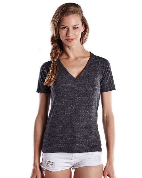 US Blanks US228 Ladies 4.9 oz. Short-Sleeve Triblend V-Neck