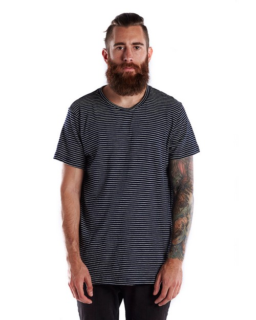 US Blanks US2404S Mens 6 oz. True Indigo Striped Crew