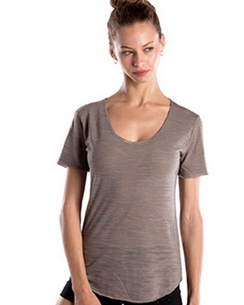 US Blanks US333 Ladies Scalloped Hem Short-Sleeve Scoop Neck