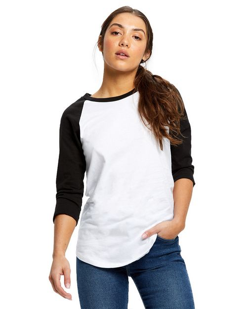 US Blanks US600 Ladies 4.3 oz.; 3/4-Sleeve Baseball Raglan