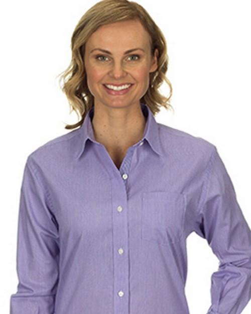 Van Heusen 13V0236 Ladies Long Sleeve Easy Care Feather Stripe Dress Shirt