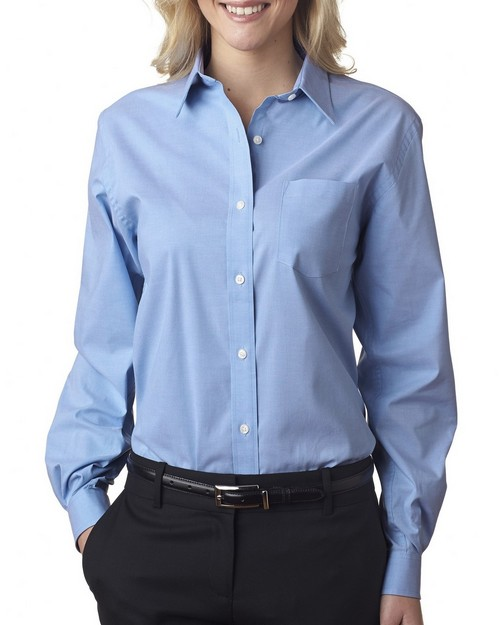 Van Heusen V0238 Ladies' Long Sleeve Stretch Pinpoint Oxford