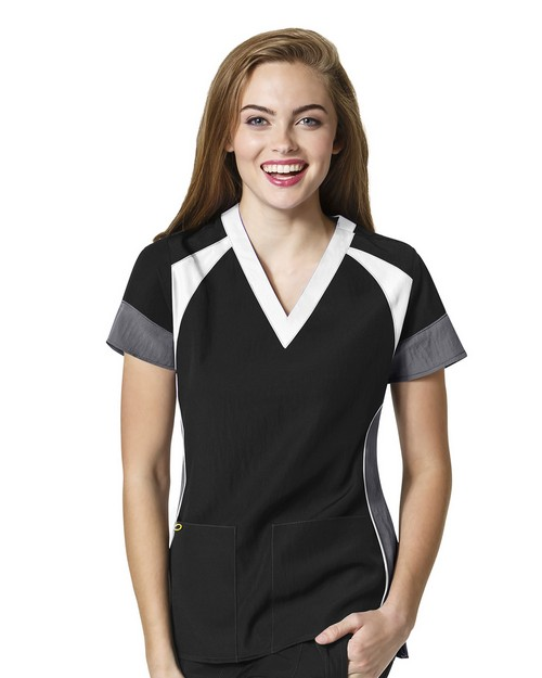 Wonderwink 6814 Women's Color Block V-Neck Top