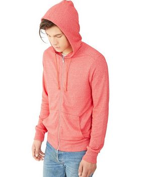 Alternative 09880E Mens Eco Mock Zip Hoodie