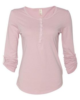 Alternative 4016 Womens Rolled Sleeve Henley