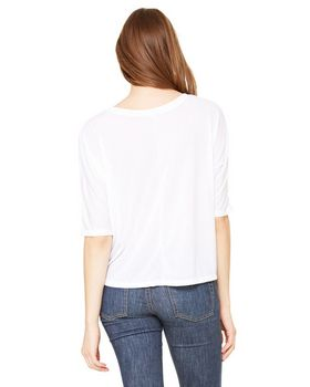 Bella + Canvas 8825 Ladies Flowy V-Neck Cropped Half-Sleeve T-Shirt