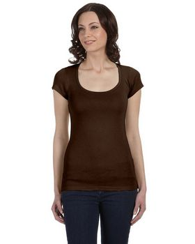 Bella + Canvas B8703 Ladies Sheer Mini Rib Short-Sleeve Scoop Neck T-Shirt