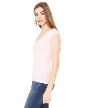 Bella + Canvas B8705 Ladies Sheer Mini Rib Deep V-Neck T-Shirt