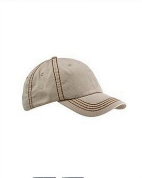 Big Accessories BA509 Contrast Thick Stitch Unstructured Cap