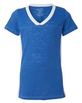 Blue 84 JBSS Juniors Burnout V-Neck Side Stripe T-Shirt