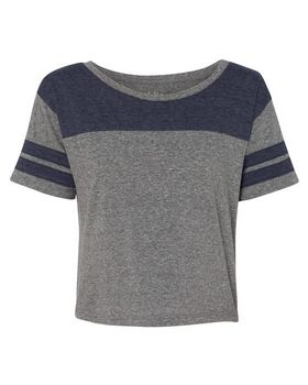 Blue 84 JTCT Juniors Triblend Striped Crop Tee