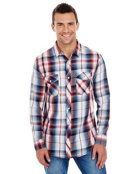 Burnside B8202 Mens Plaid Pattern Woven